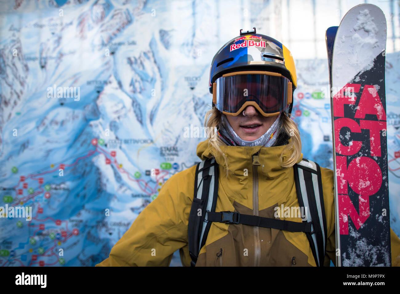 Portrait of skier in skiwear,  Monterosa Ski mountain resort in Gressoney, Aosta, Italy - Stock Image