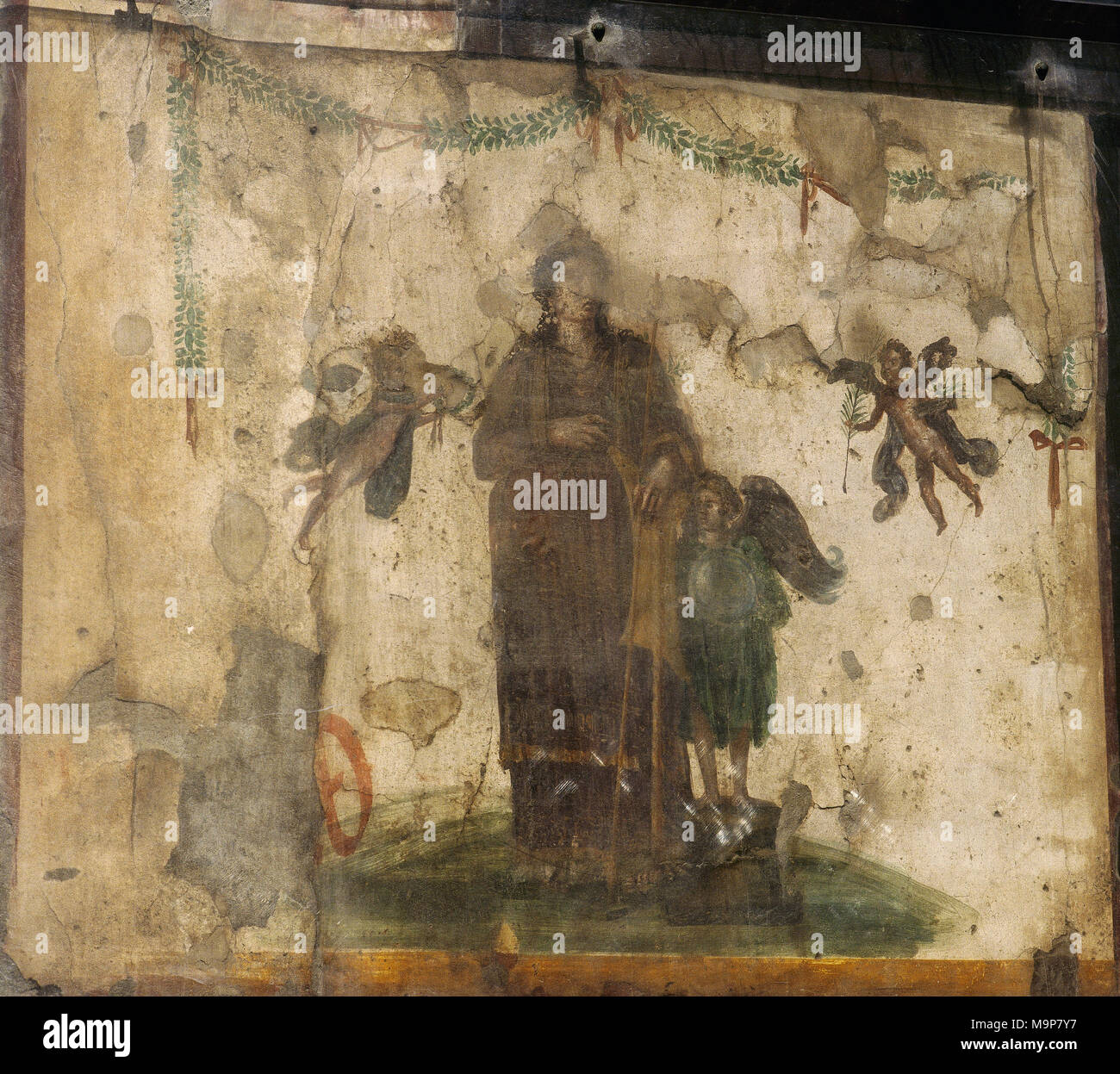 Pompeii. Wall painting depicting a woman accompanied by Cupids. In the upper zone, garlands. Decorative fresco of the interior of the roman house. Campania, Italy. - Stock Image