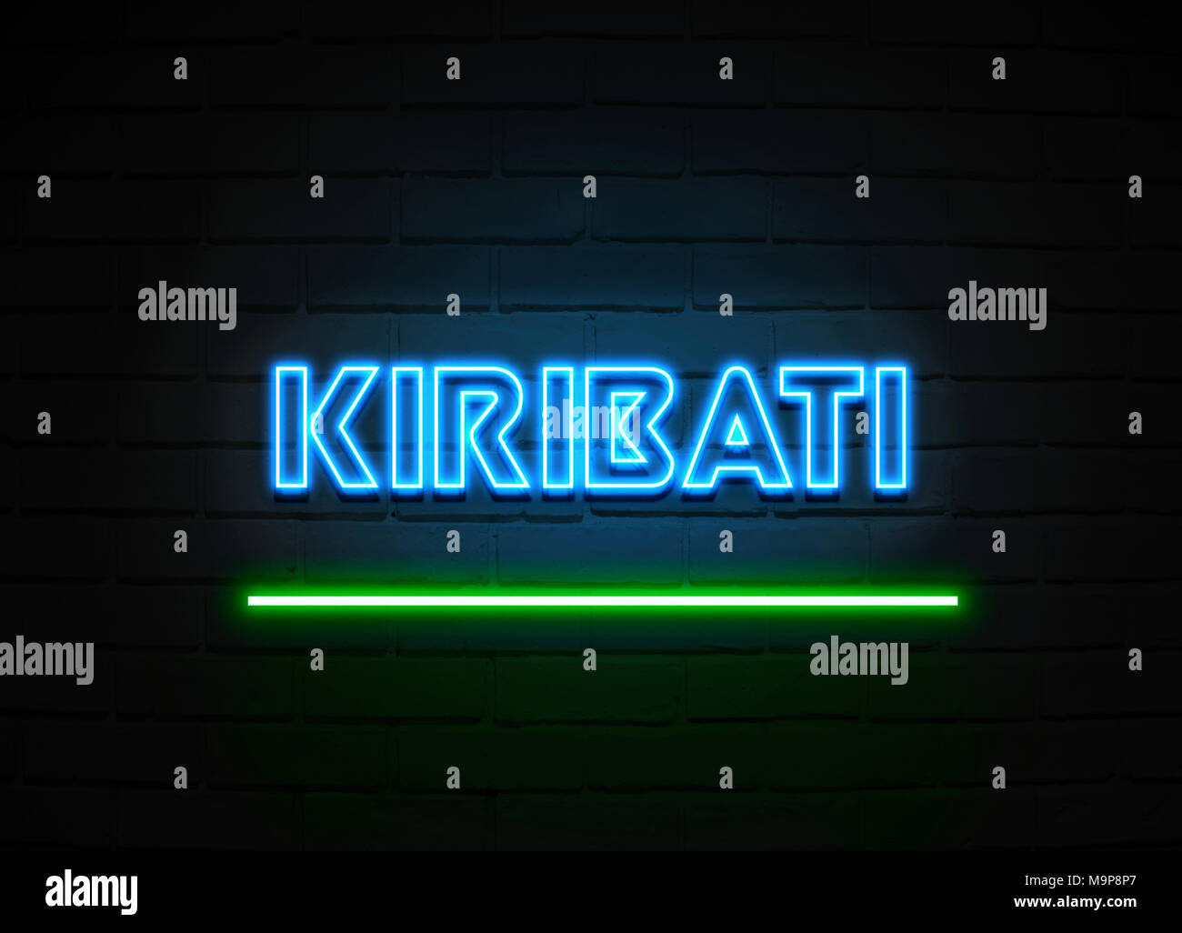 Kiribati neon sign - Glowing Neon Sign on brickwall wall - 3D rendered royalty free stock illustration. - Stock Image