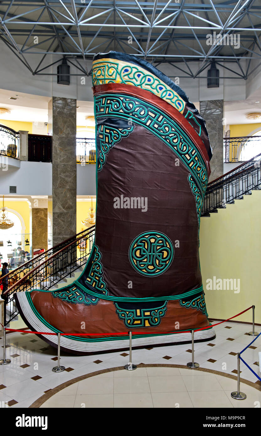 Traditional Mongolian boot, largest shoe in the world, in Genghis Khan Theme Park, Chinggis Khan Statue Complex, Tsonjin Boldog - Stock Image