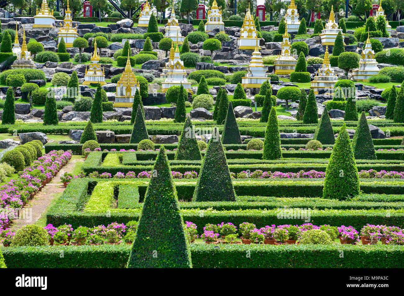 French Garden, Nong Nooch Tropical Botanical Garden, Pattaya, Thailand - Stock Image