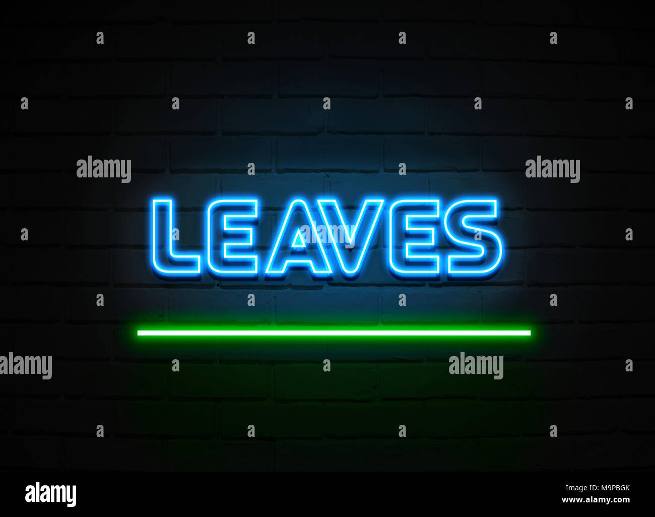 Leaves neon sign - Glowing Neon Sign on brickwall wall - 3D rendered