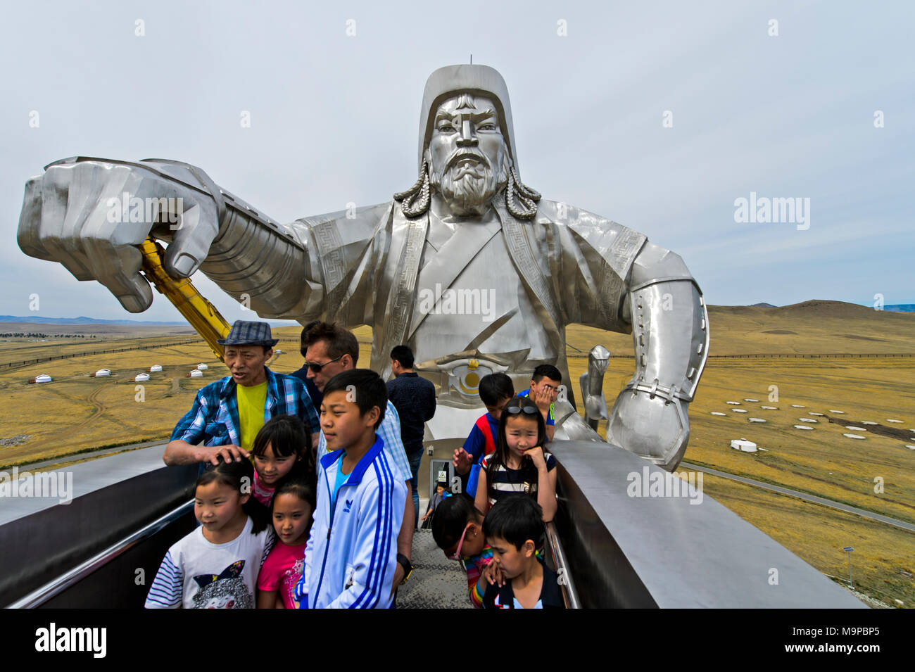 Visitors on the observation platform in the horse's head, equestrian statue of Genghis Khan, Genghis Khan Theme Park - Stock Image