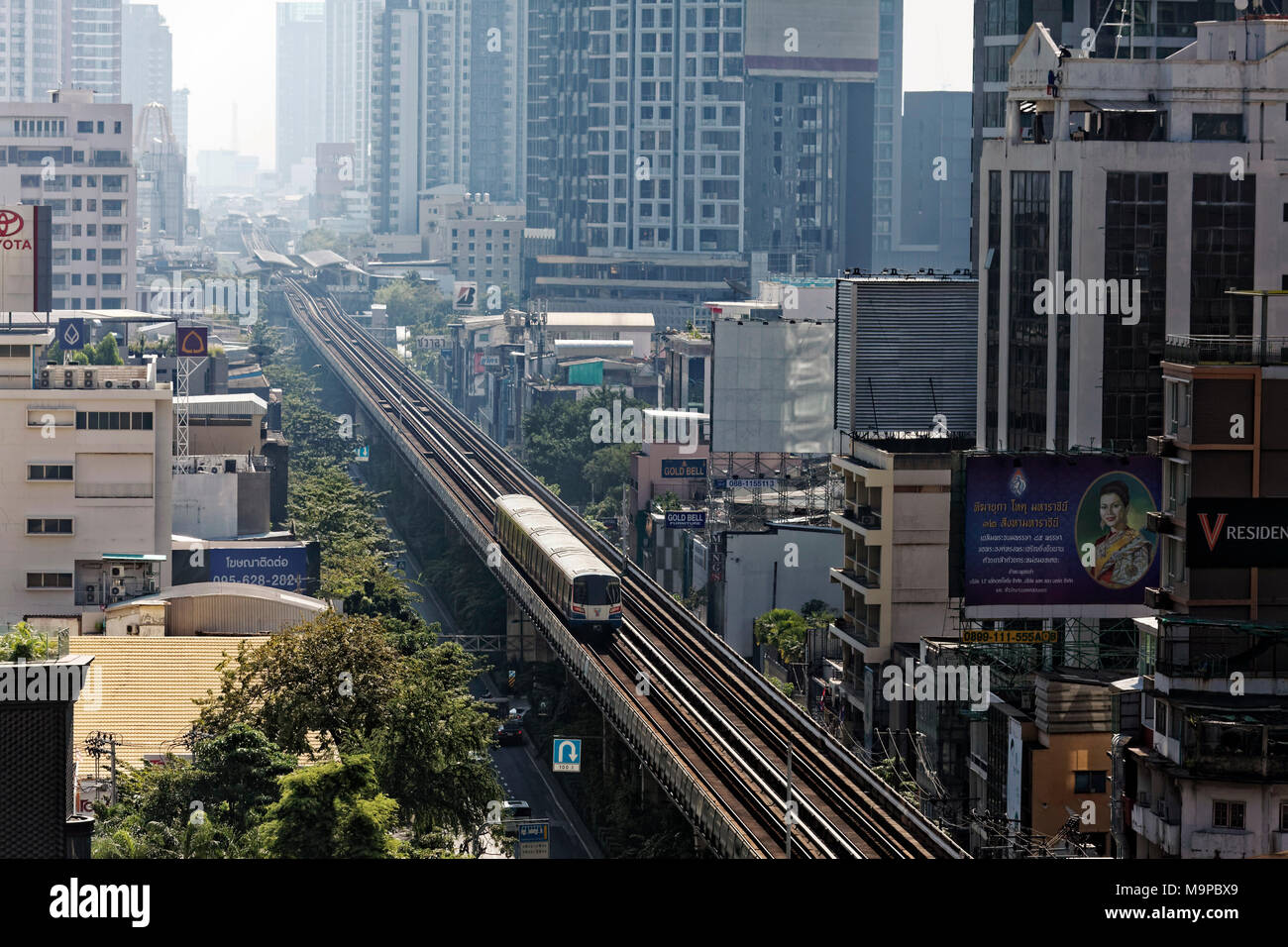 BTS Skytrain route in the Sukhumvit Road with station Phrom Pong, Khlong Toei, Bangkok, Thailand - Stock Image