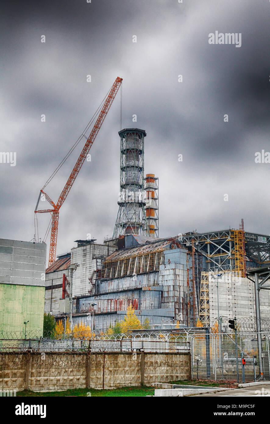 Destroyed reactor 4, Chernobyl, Kiev Oblast, Ukraine - Stock Image