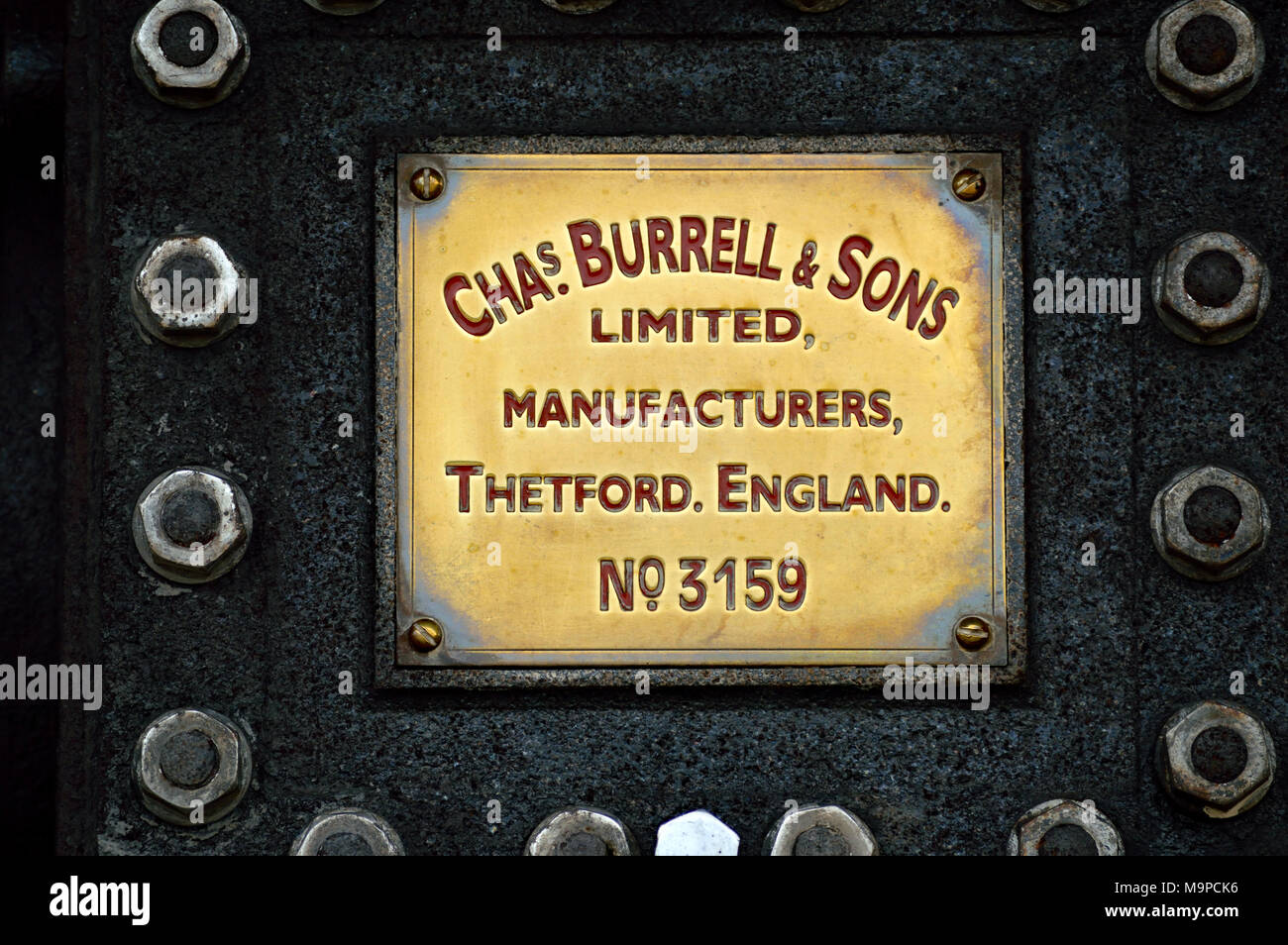 Steam engine name plate (Chas Burrell & Sons No.3159 Stock Photo - Alamy