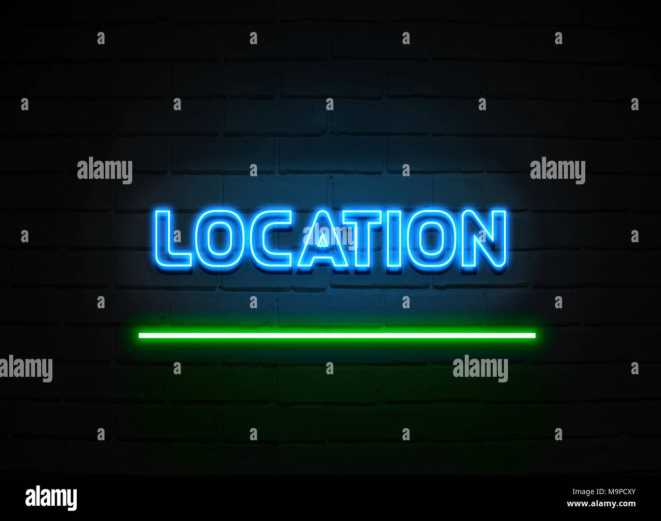 Location neon sign - Glowing Neon Sign on brickwall wall - 3D rendered royalty free stock illustration. - Stock Image