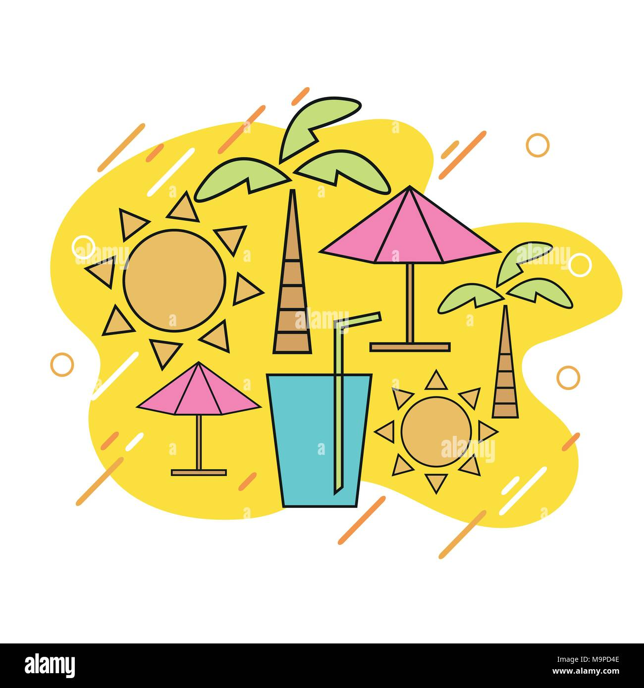 Vector Summer With Linear Icons And Signs Travel Vacation Concept