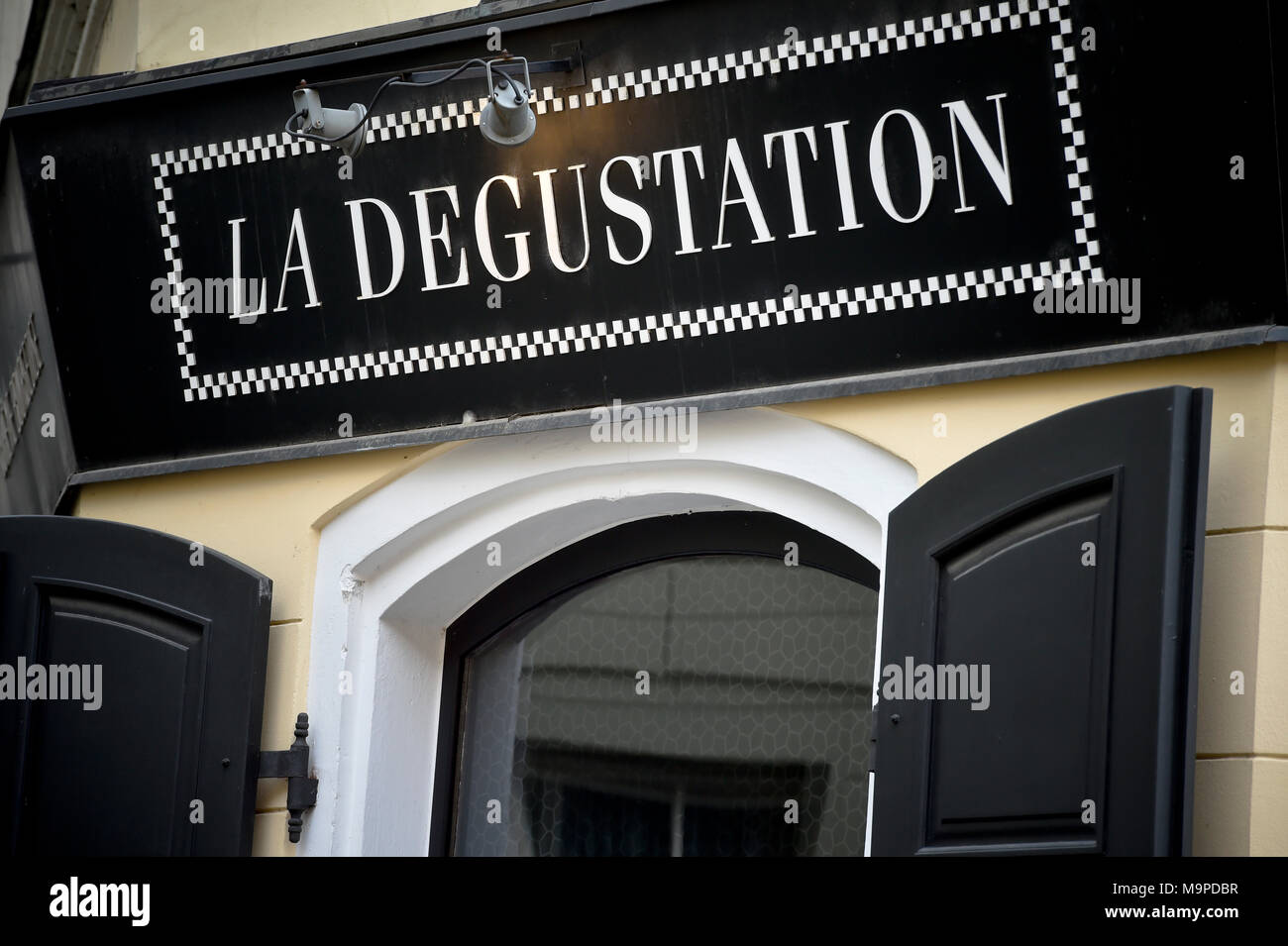 Prague, Czech Republic. 27th Mar, 2018. Two restaurants in Prague with Czech chefs, La Degustation Boheme Bourgeoise and Field, have defended their Michelin stars, while Alcron has lost it in this year. On the photo is seen La Degustation Boheme Bourgeoise restaurant in Prague, Czech Republic, on March 27, 2018. Credit: Vit Simanek/CTK Photo/Alamy Live News - Stock Image