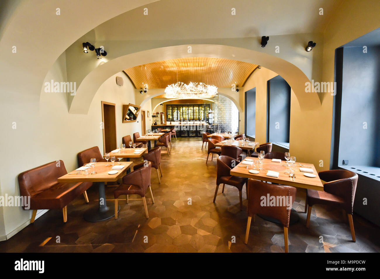 Two restaurants in Prague with Czech chefs, La Degustation Boheme Bourgeoise and Field, have defended their Michelin stars, while Alcron has lost it in this year. On the photo is seen La Degustation Boheme Bourgeoise restaurant in Prague, Czech Republic, on March 27, 2018. (CTK Photo/Vit Simanek) - Stock Image