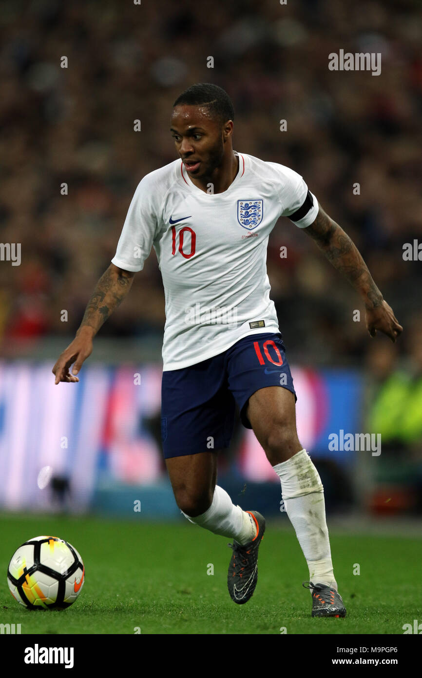 London, UK. 27th March, 2018. Raheem Sterling (E) at the England v Italy International Friendly football match, at Wembley Stadium, London, on March 27, 2018. **This picture is for editorial use only** Credit: Paul Marriott/Alamy Live News - Stock Image