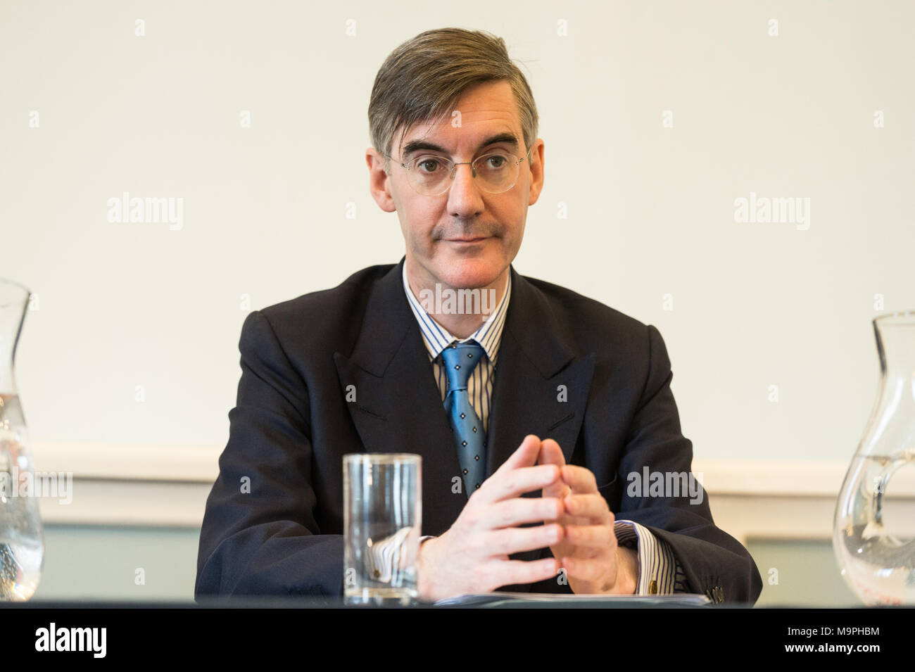 London, UK. 27th Mar, 2018. Brexit hard liner Jacob Rees-Mogg delivers a Brexit speech at the Leave Means Leave event. Credit: Raymond Tang/Alamy Live News - Stock Image