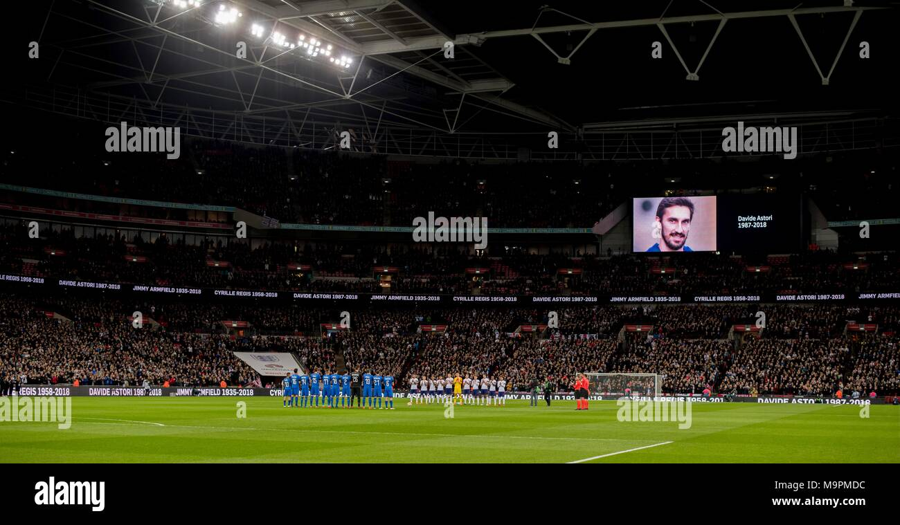 Minute Of Recollection For Davide Astori during the International Friendly match between England 1-1 Italy at Wembley Stadium on March 27, 2017 in London, England. Credit: Maurizio Borsari/AFLO/Alamy Live News - Stock Image