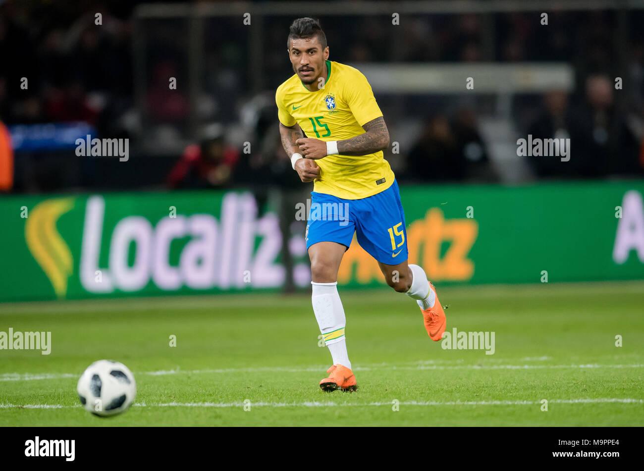 Paulinho (Brasilien) am Ball  GES/ Fussball/ Freundschaftsspiel: Germany - Brasilien, 27.03.2018  Football / Soccer: Friendly Match: Germany vs Brazil, Berlin, March 27, 2018  usage worldwide - Stock Image