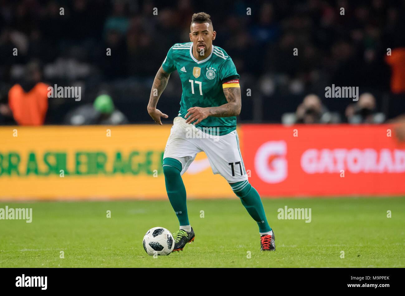 Jerome Boateng (Germany) am Ball  GES/ Fussball/ Freundschaftsspiel: Germany - Brasilien, 27.03.2018  Football / Soccer: Friendly Match: Germany vs Brazil, Berlin, March 27, 2018  usage worldwide - Stock Image