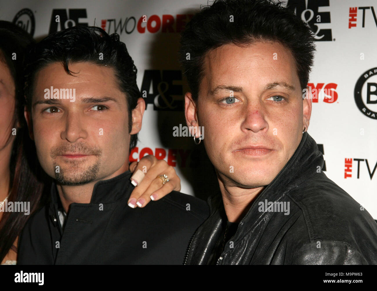 ***FILE PHOTO*** COREY FELDMAN STABBED WHILE IN CAR WITH SECURITY*** Corey Feldman and Corey Haim pictured at 'The Two Coreys' Premiere Party in Hollywood, California, July 27, 2007. © RTRD//MediaPunch. - Stock Image