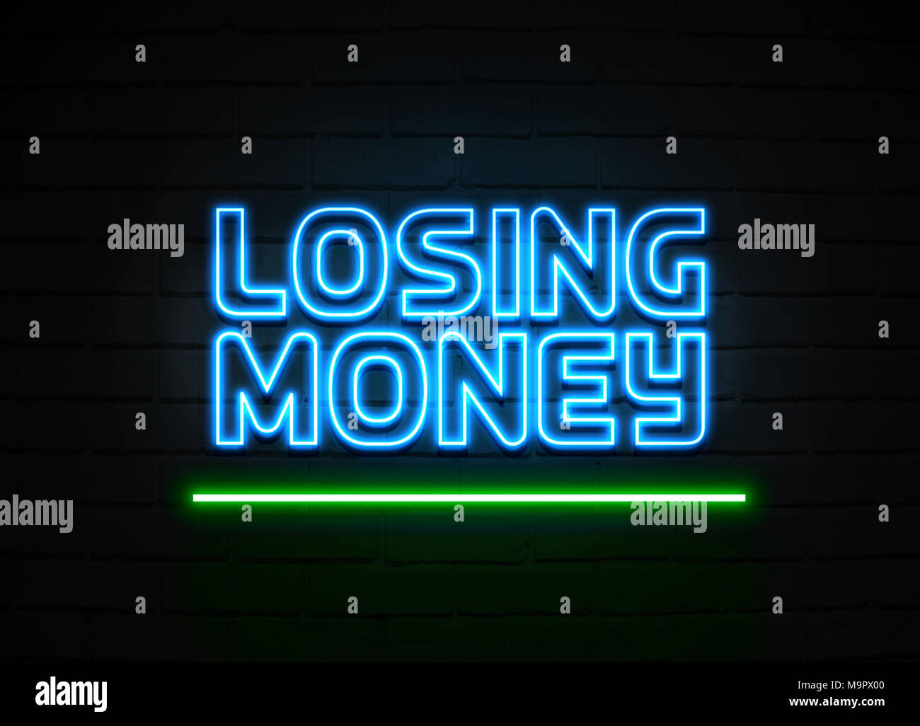 Losing Money neon sign - Glowing Neon Sign on brickwall wall - 3D rendered royalty free stock illustration. Stock Photo