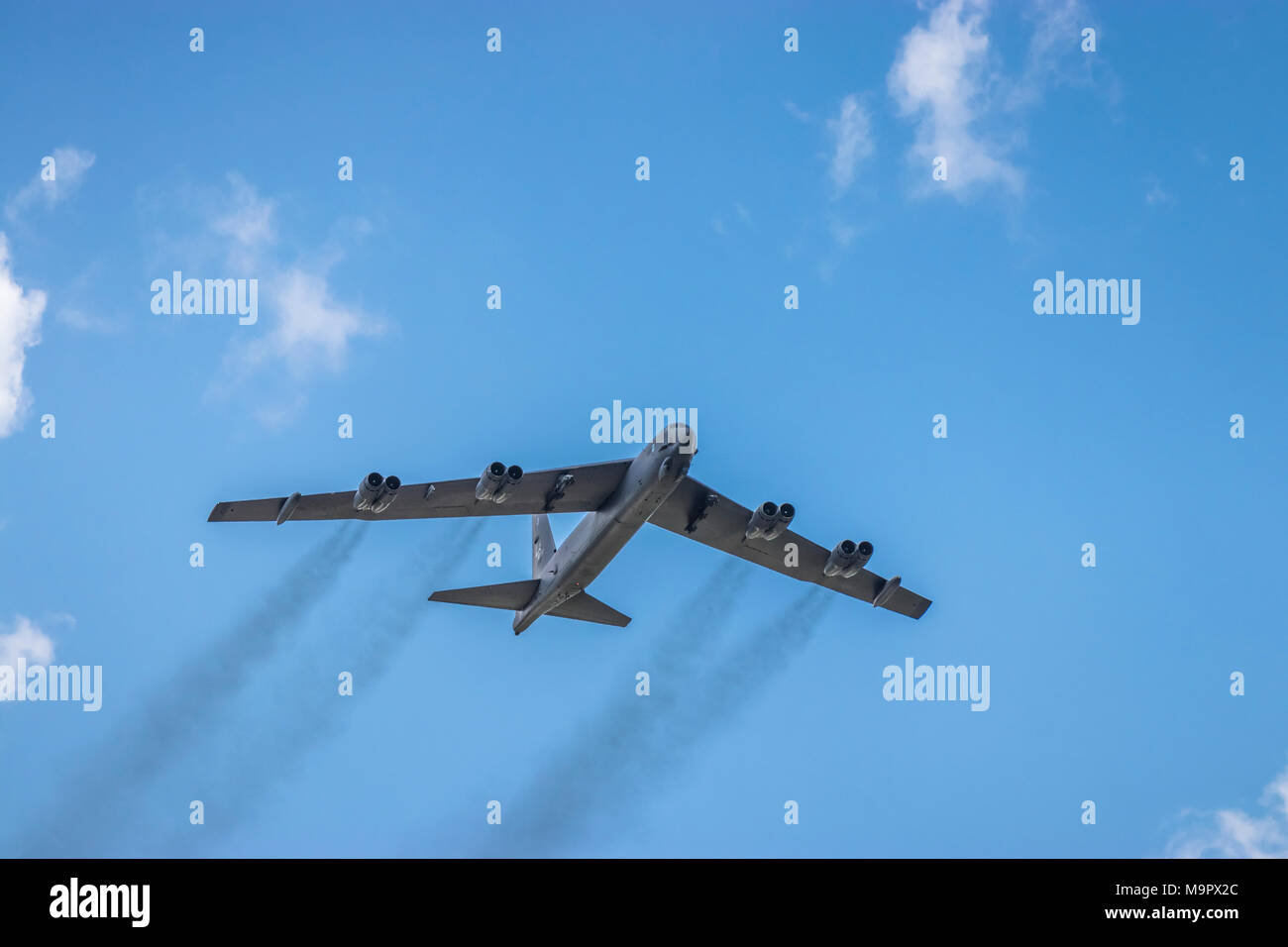 The Mighty Buff Boeing B-52 Stratofortress bomber in flight at the 2017 Airshow in Duluth, Minnesota, USA. - Stock Image