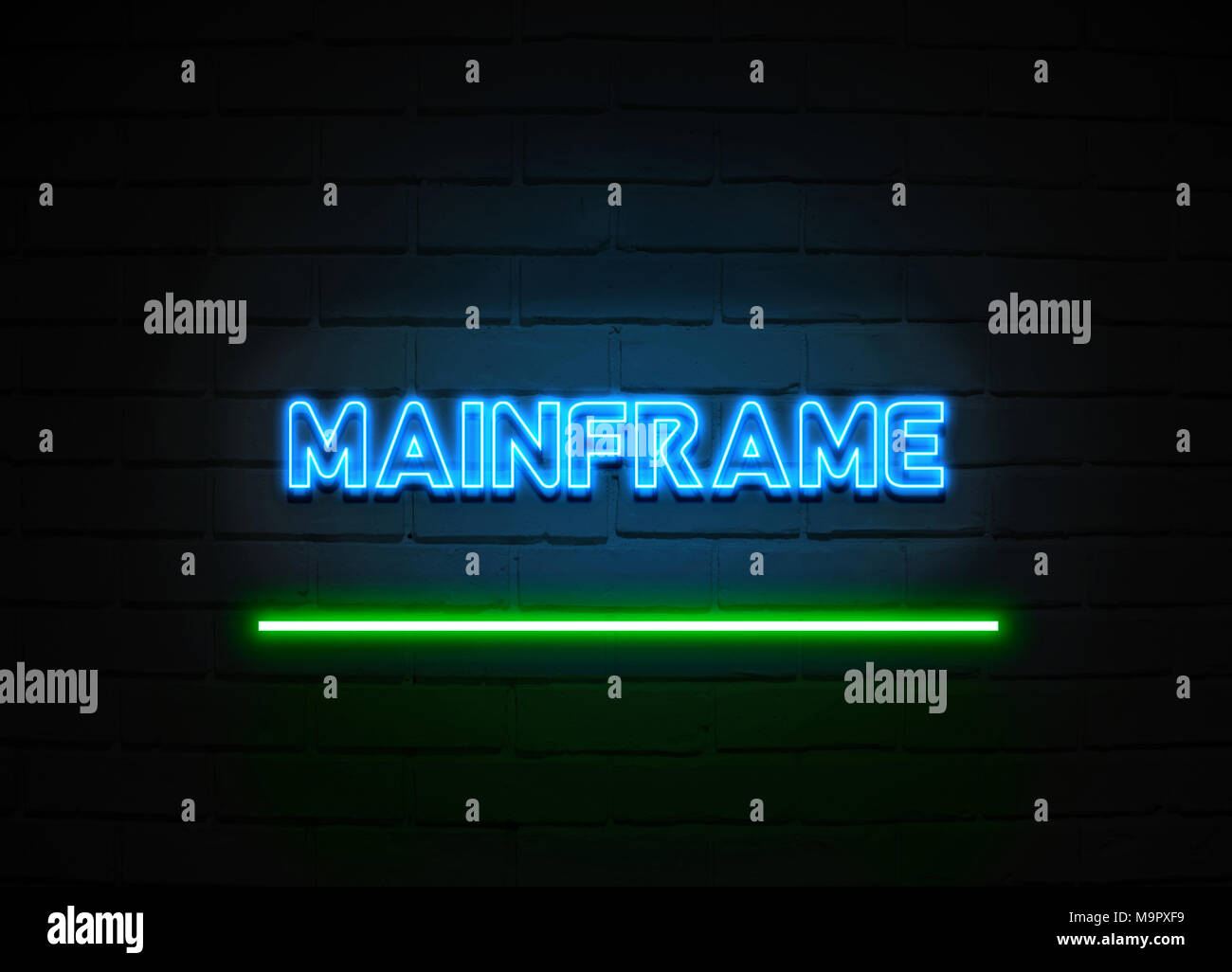 Mainframe neon sign - Glowing Neon Sign on brickwall wall - 3D rendered royalty free stock illustration. - Stock Image