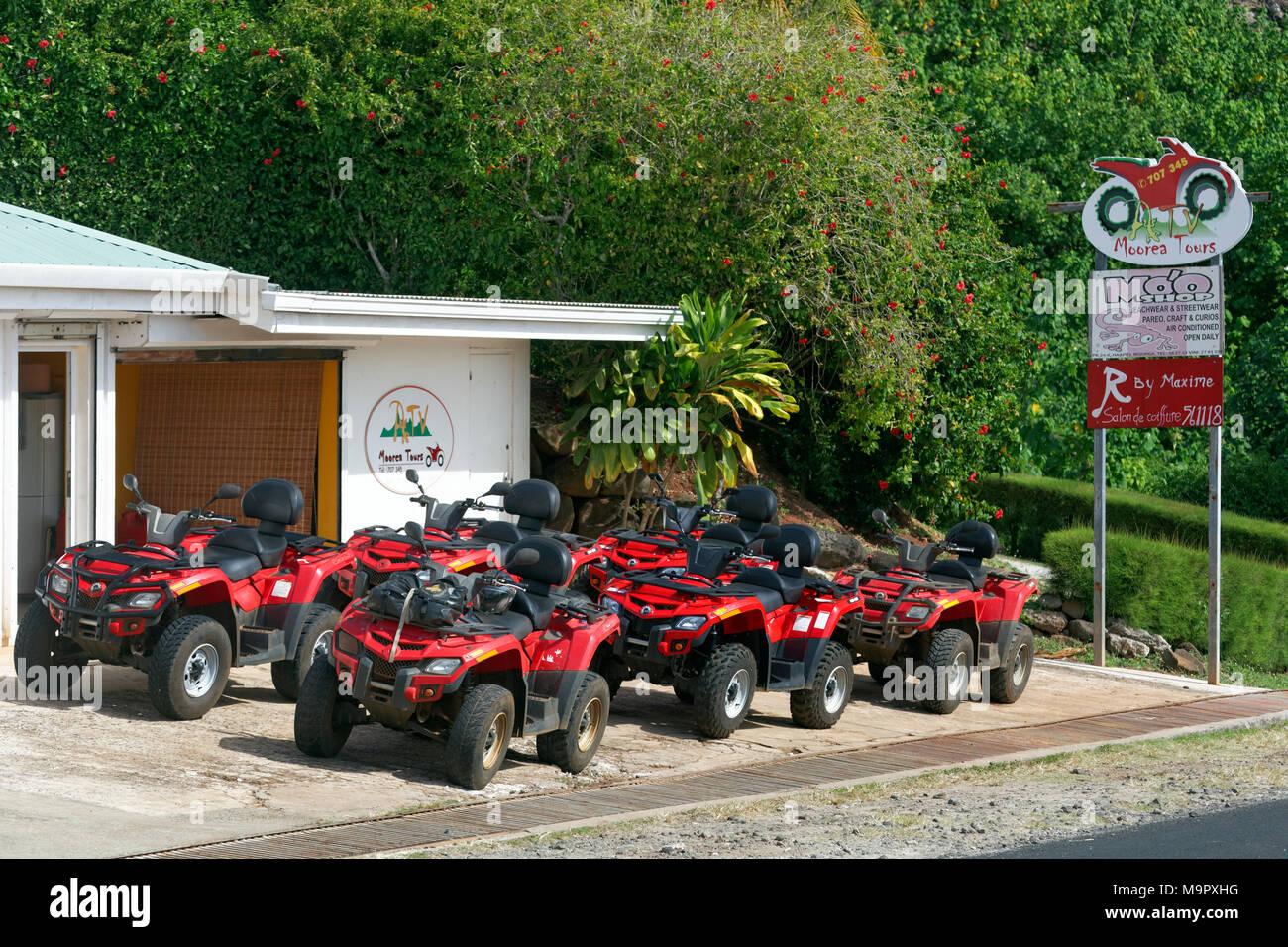 Quads of Moorea Tours, Moorea, Society Islands, Windward Islands, French Polynesia - Stock Image