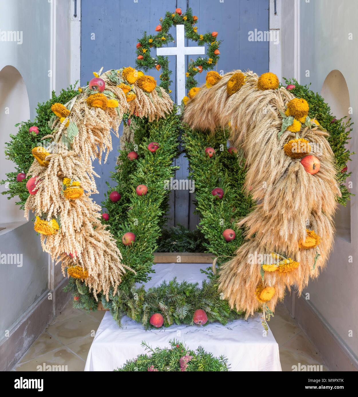 Wreath for Thanksgiving, pilgrimage church Hafnerberg, Nöstach, Lower Austria, Austria - Stock Image