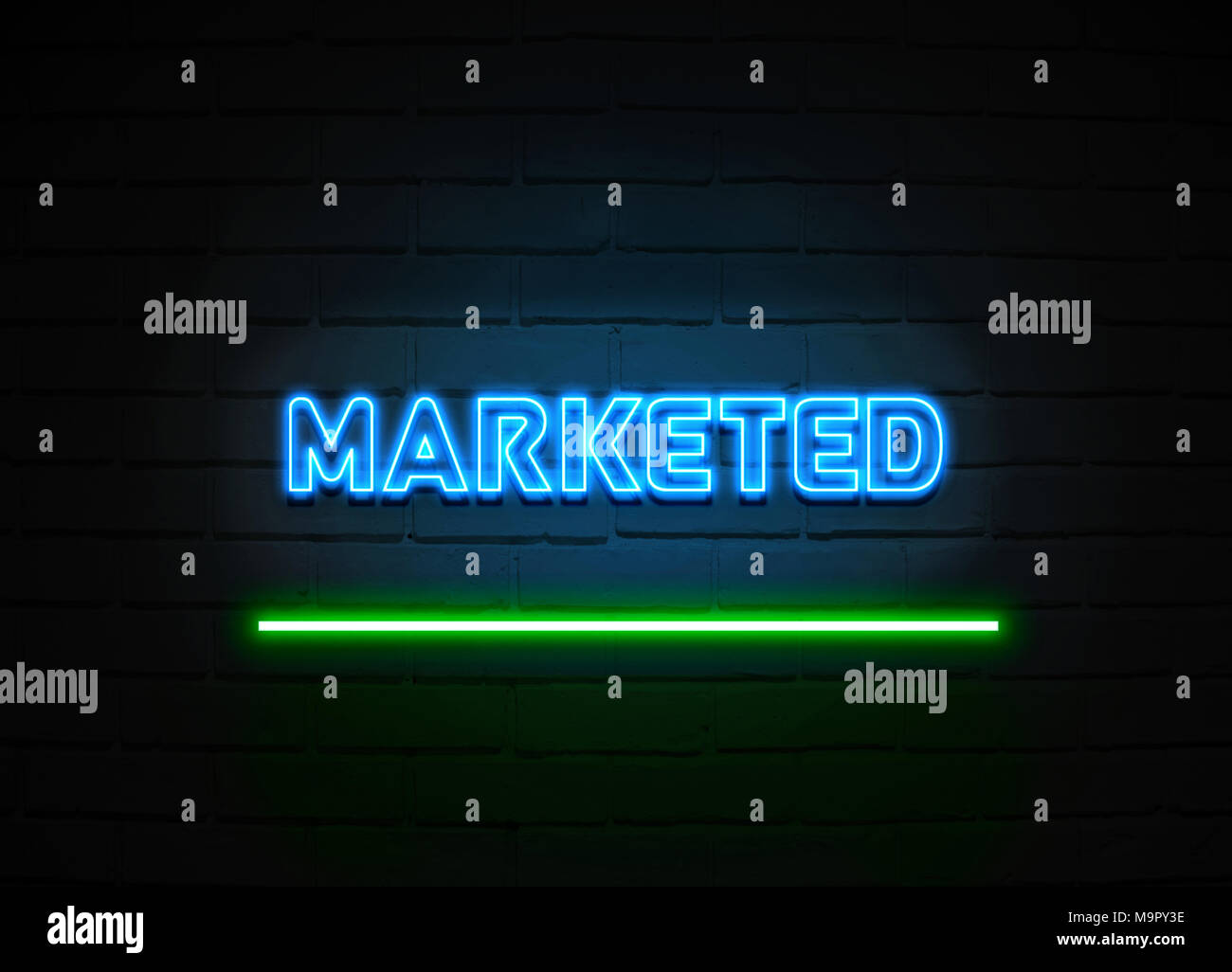 Marketed neon sign - Glowing Neon Sign on brickwall wall - 3D rendered royalty free stock illustration. - Stock Image
