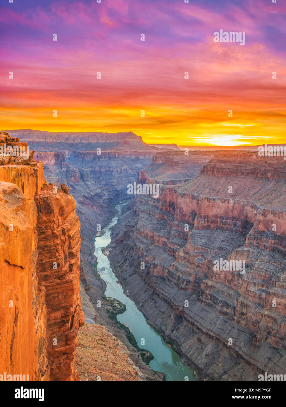 sunrise over the colorado river at toroweap overlook in grand canyon national park, arizona - Stock Image