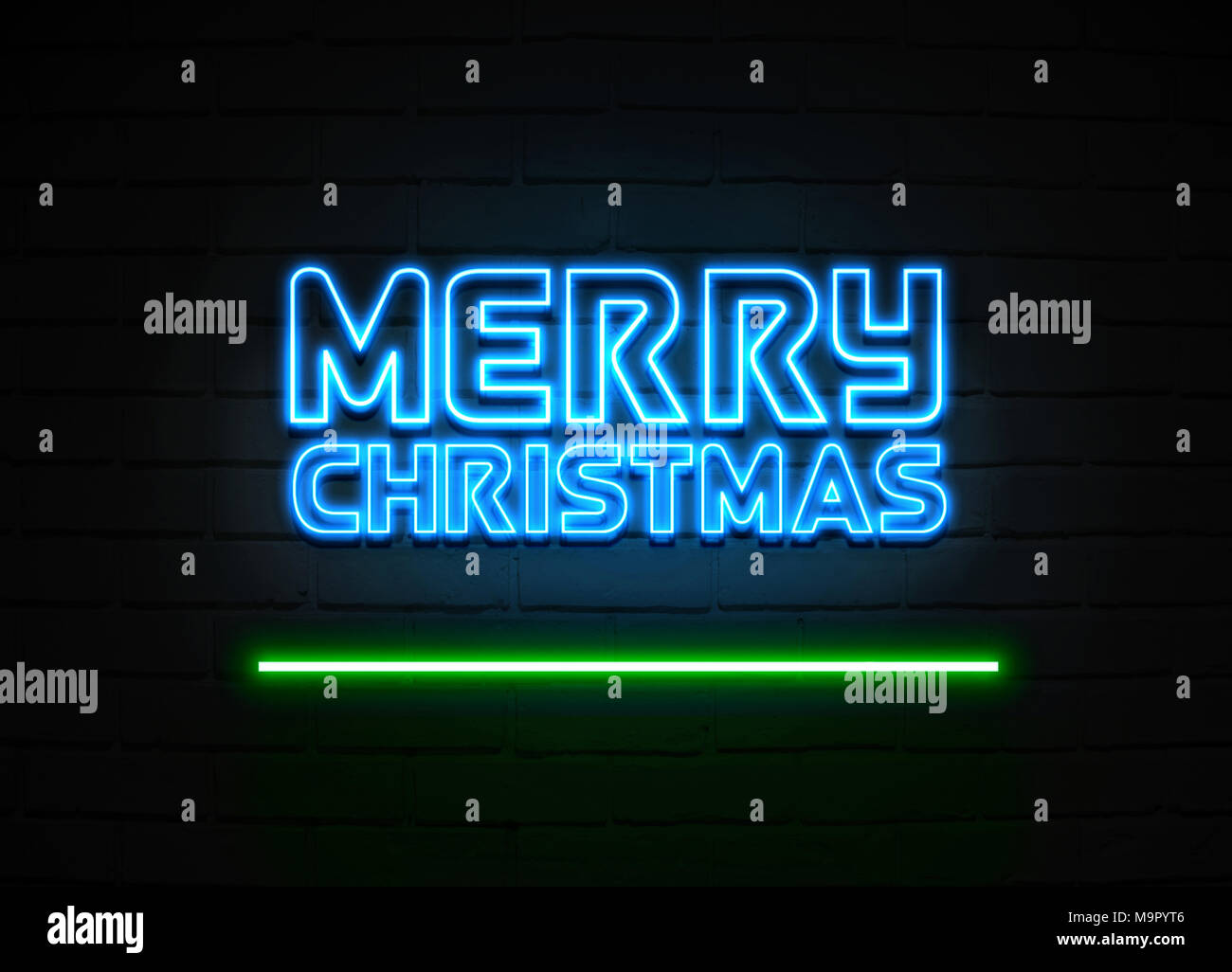 merry christmas neon sign glowing neon sign on brickwall wall 3d rendered royalty free stock illustration M9PYT6