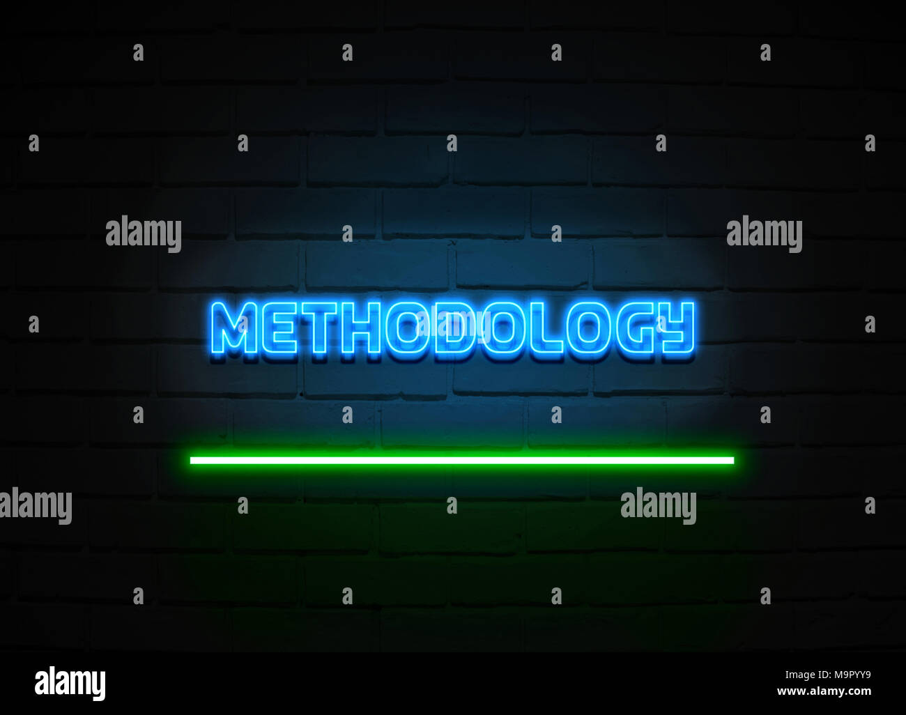 Methodology neon sign - Glowing Neon Sign on brickwall wall - 3D rendered royalty free stock illustration. - Stock Image
