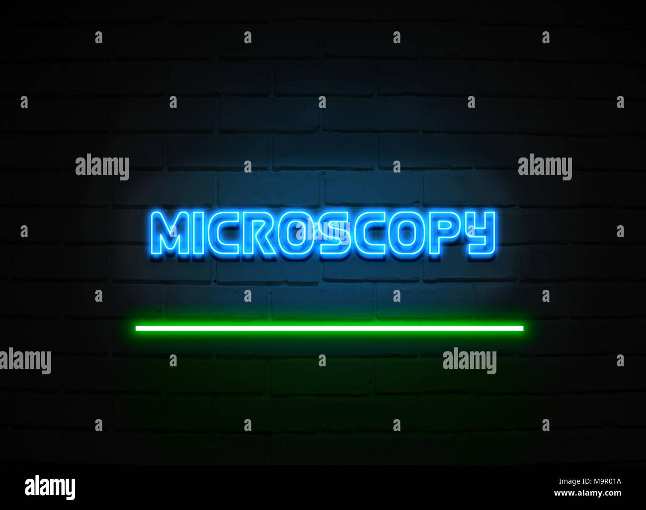 Microscopy neon sign - Glowing Neon Sign on brickwall wall - 3D rendered royalty free stock illustration. - Stock Image