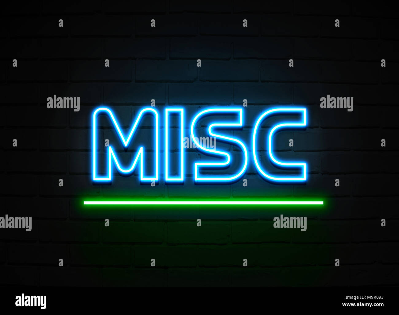 Misc neon sign - Glowing Neon Sign on brickwall wall - 3D rendered royalty free stock illustration. - Stock Image
