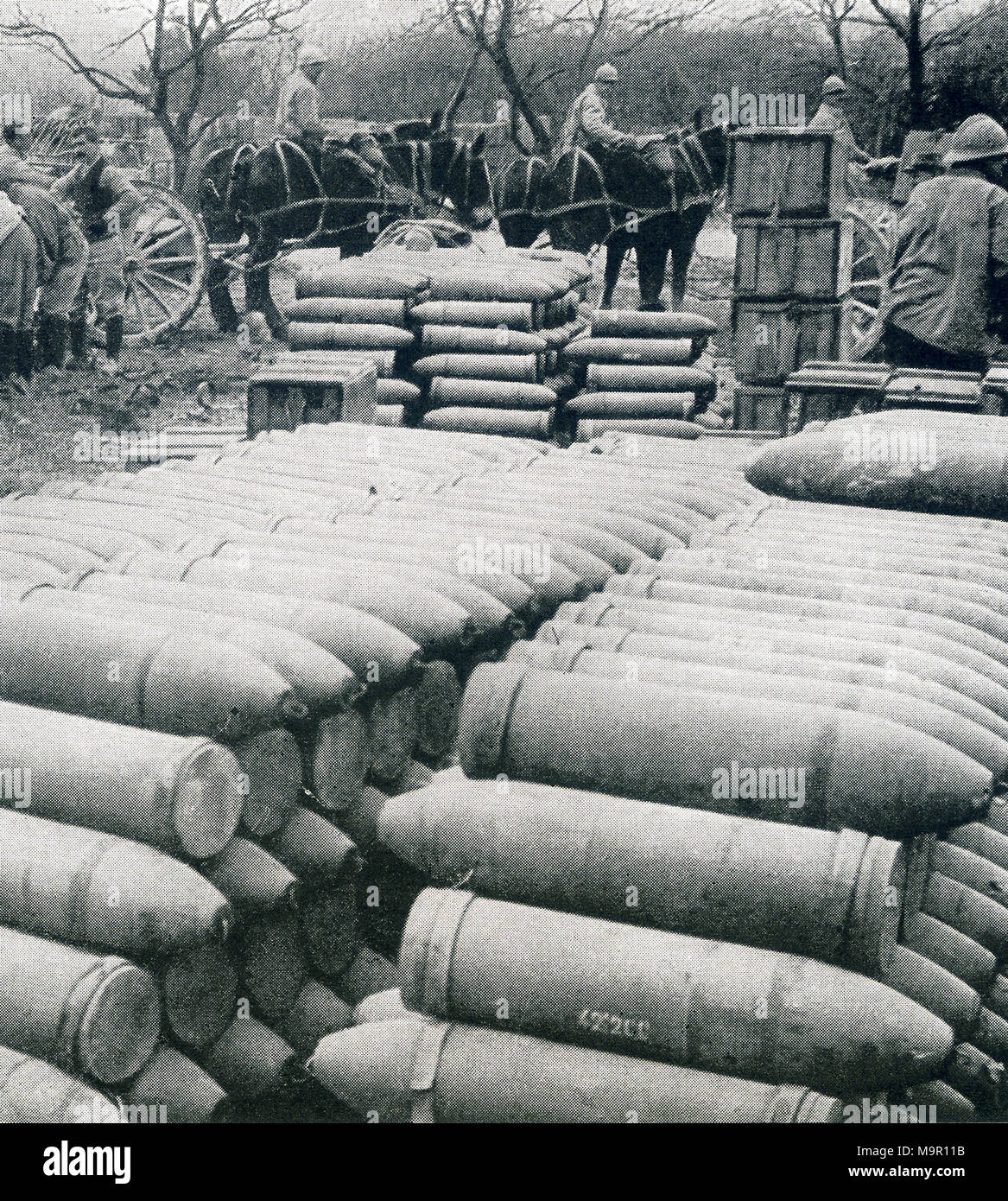 This photo, taken during World War I, hsows shells for Verdun in France. The captions says: Big shells for Verdun. One of the many ammunition depots in the rear of the French lines at Verdun. - Stock Image