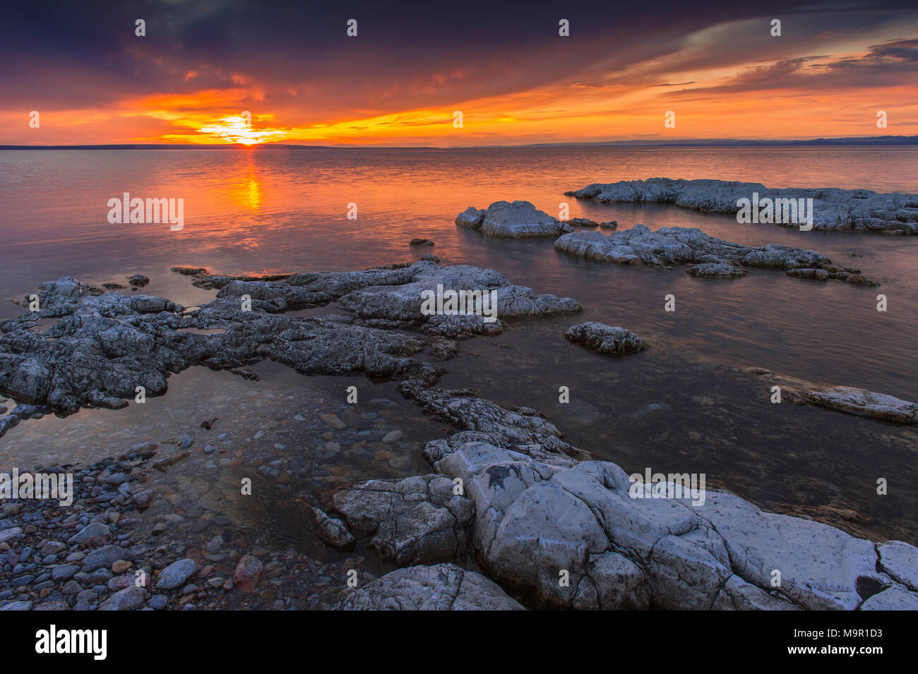 Sunset over Khyargas lake, Mongolia - Stock Image