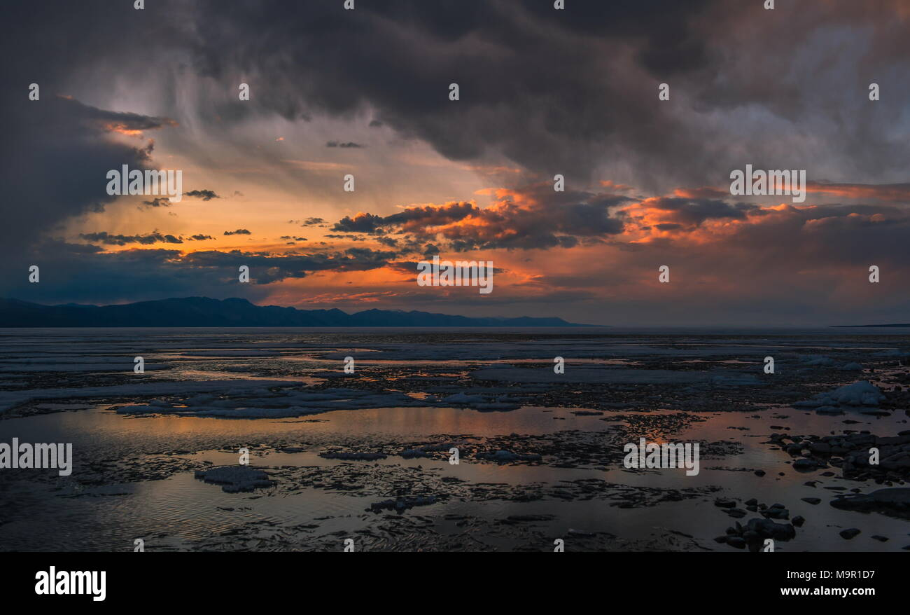 Dusk at the Khuvsgul Lake, Mongolia - Stock Image