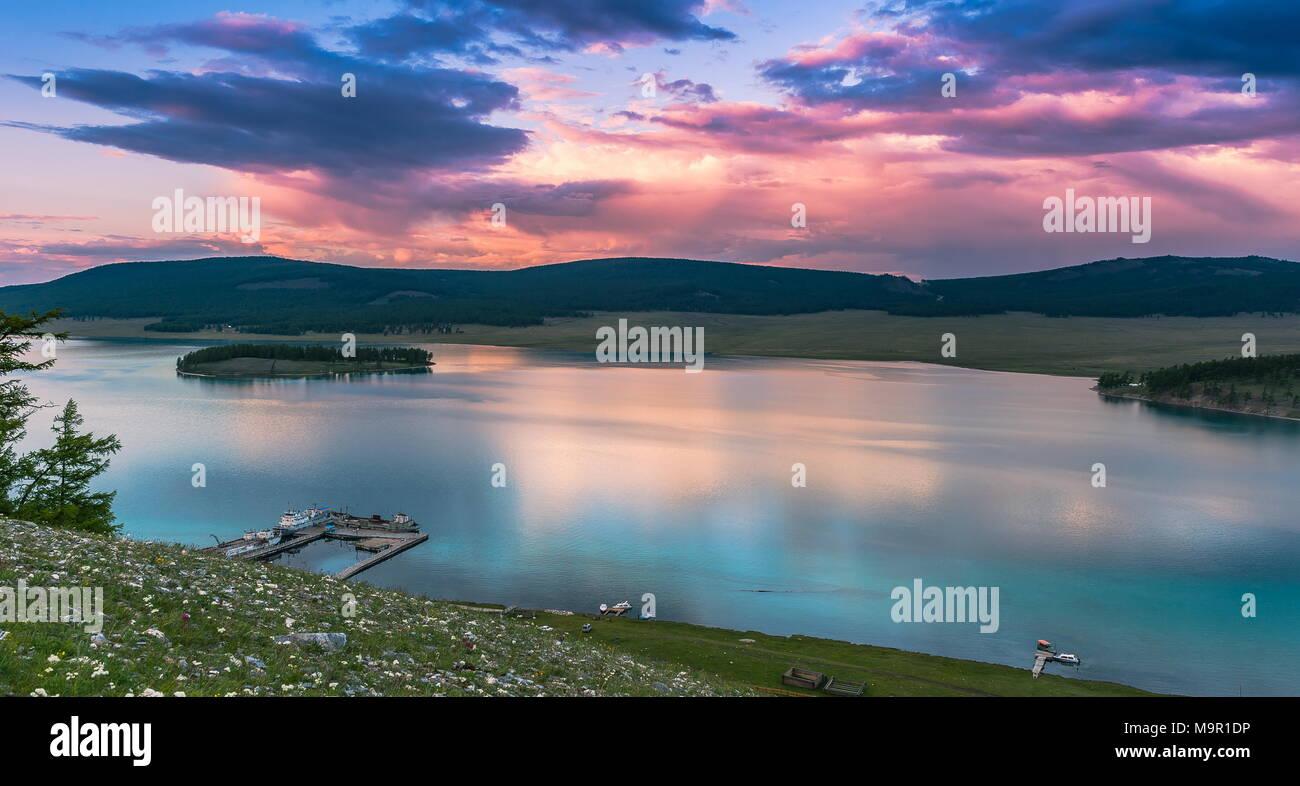 Khuvsgul Lake in dusk, Mongolia - Stock Image