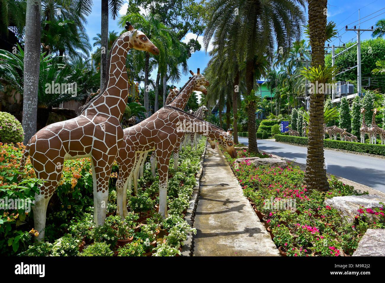 Giraffe figures, Nong Nooch Tropical Botanical Garden, Pattaya, Thailand