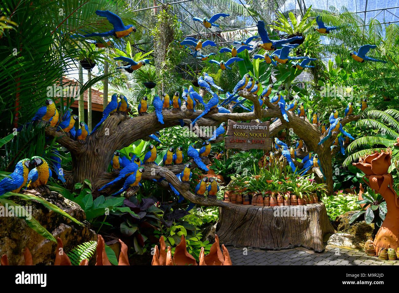 Parrot figures, Nong Nooch Tropical Botanical Garden, Pattaya, Thailand