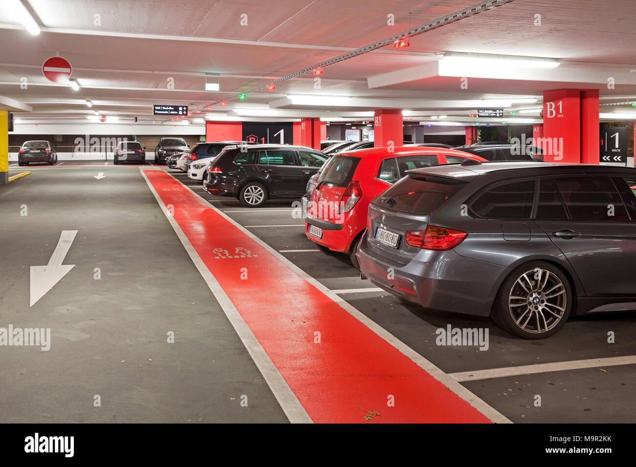 Parking cars in underground car park, multi-storey car park, Centro, Oberhausen, Ruhr Area, North Rhine-Westphalia, Germany Stock Photo
