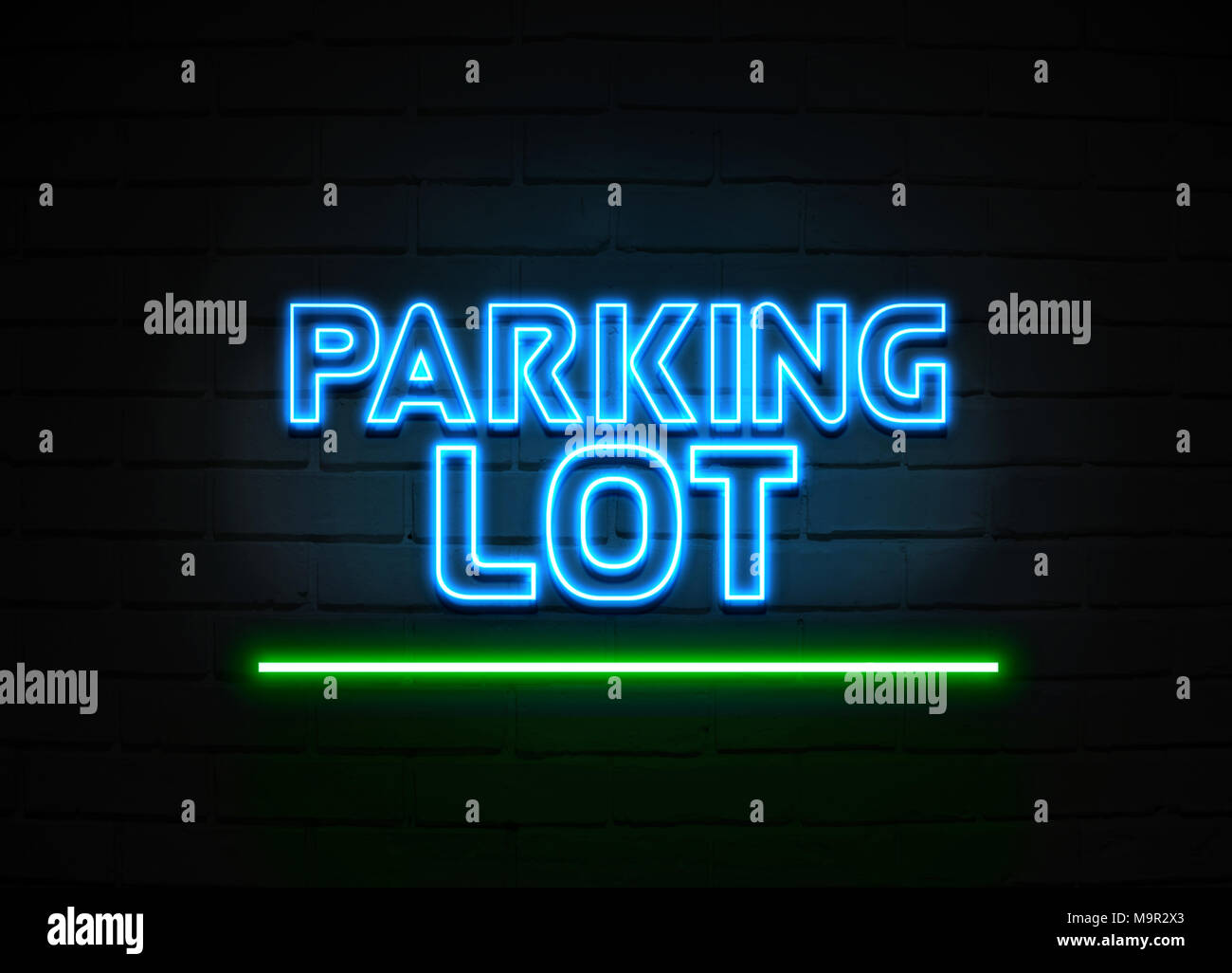 Parking Lot neon sign - Glowing Neon Sign on brickwall wall