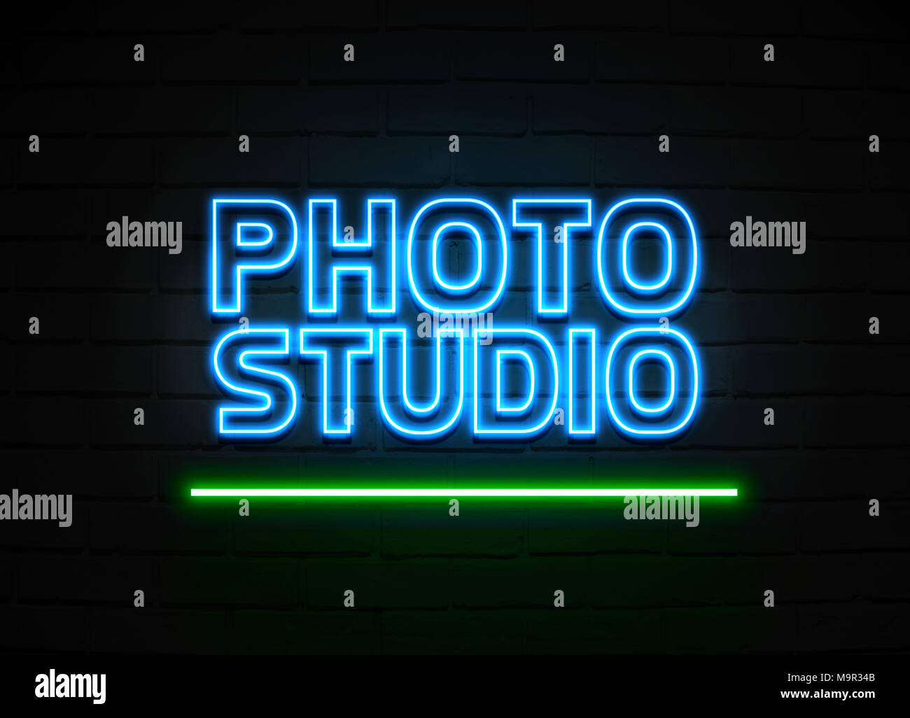 Photo Studio neon sign - Glowing Neon Sign on brickwall wall - 3D rendered royalty free stock illustration. Stock Photo