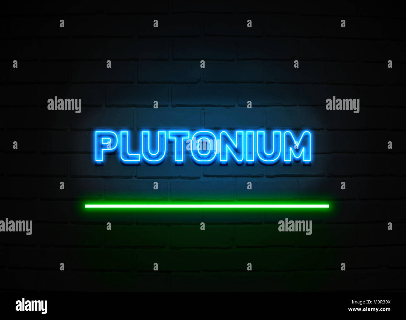 Plutonium neon sign - Glowing Neon Sign on brickwall wall - 3D rendered royalty free stock illustration. - Stock Image