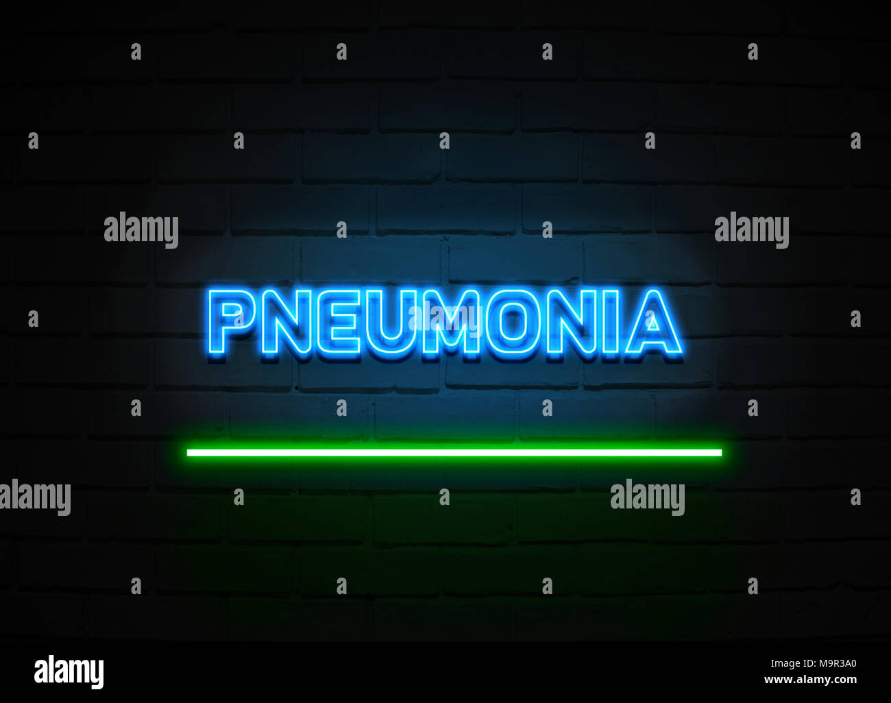 Pneumonia neon sign - Glowing Neon Sign on brickwall wall - 3D rendered royalty free stock illustration. - Stock Image