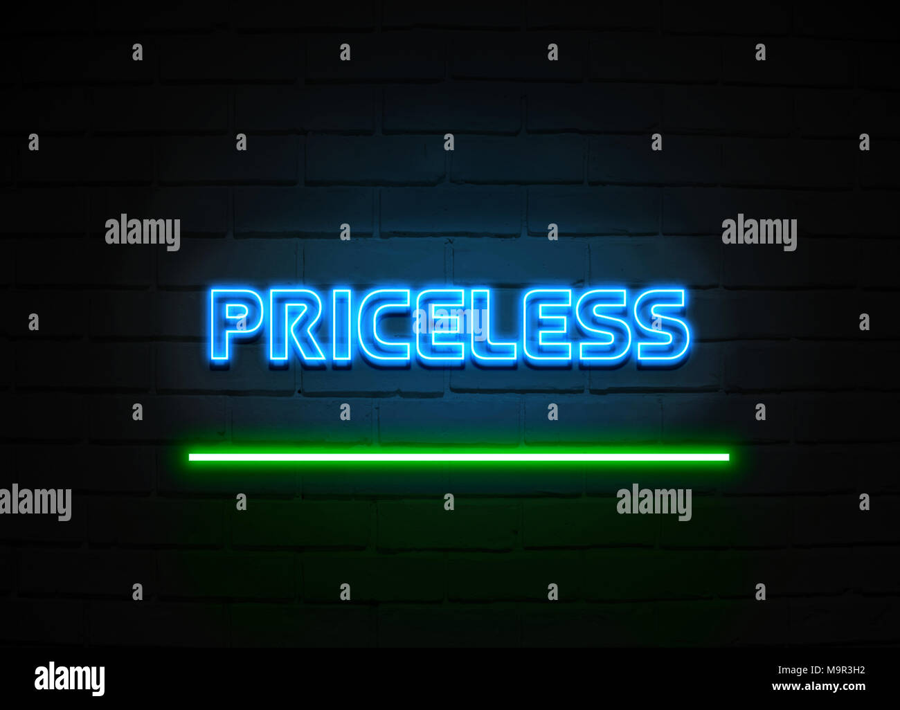 Priceless neon sign - Glowing Neon Sign on brickwall wall - 3D rendered royalty free stock illustration. - Stock Image