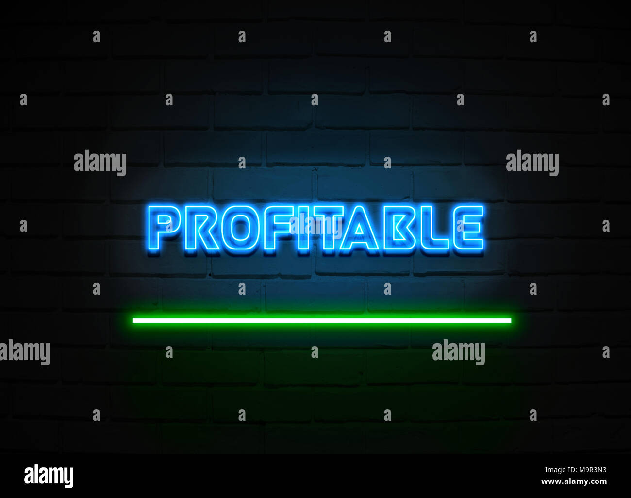 Profitable neon sign - Glowing Neon Sign on brickwall wall - 3D rendered royalty free stock illustration. - Stock Image