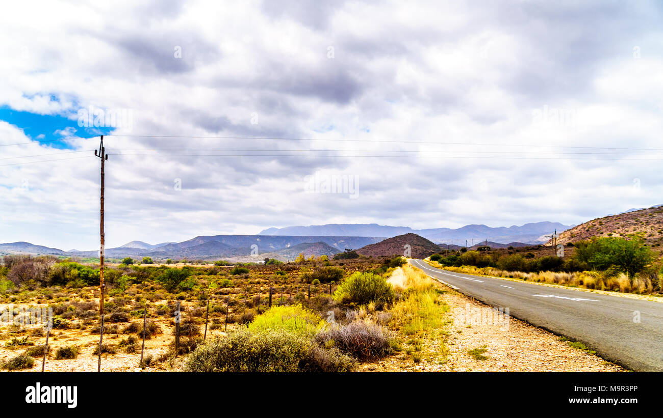 National Road N9 near the border between Eastern and Western Cape provinces in the Little Karoo region of the Western Cape Province in South Africa Stock Photo