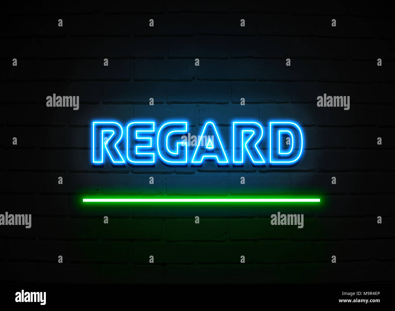 Regard neon sign - Glowing Neon Sign on brickwall wall - 3D rendered royalty free stock illustration. - Stock Image