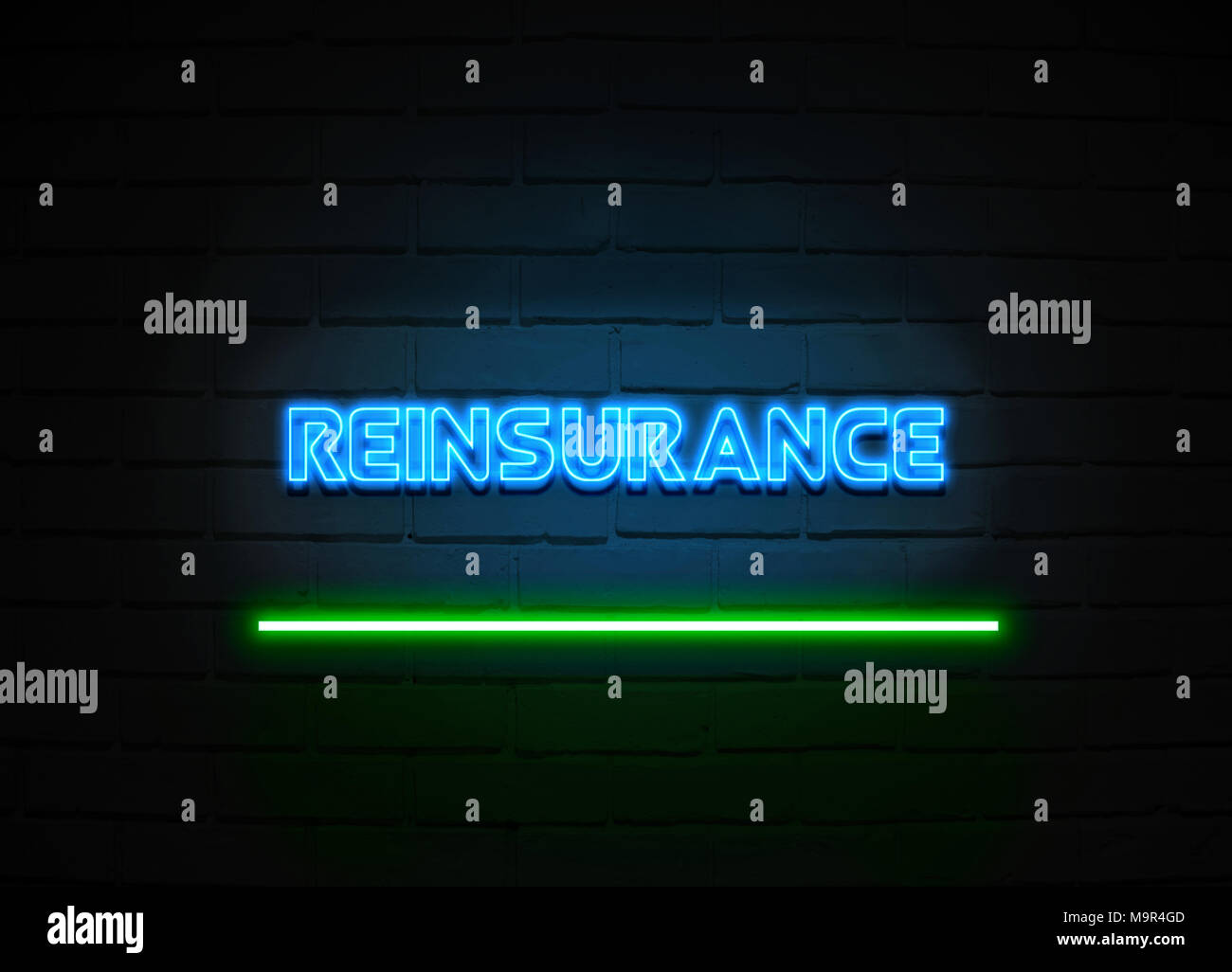Reinsurance neon sign - Glowing Neon Sign on brickwall wall - 3D rendered royalty free stock illustration. - Stock Image