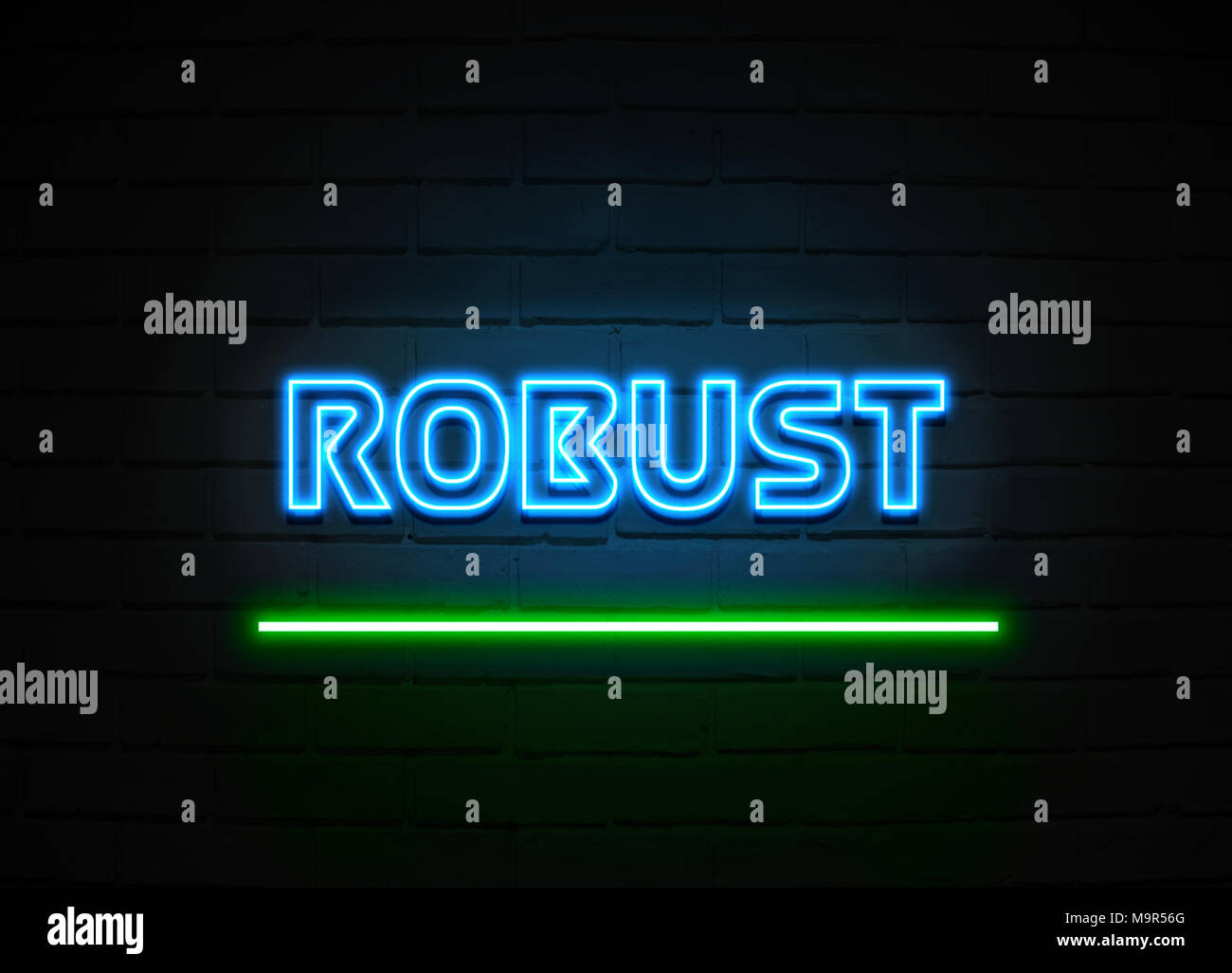 robust neon sign glowing neon sign on brickwall wall 3d rendered