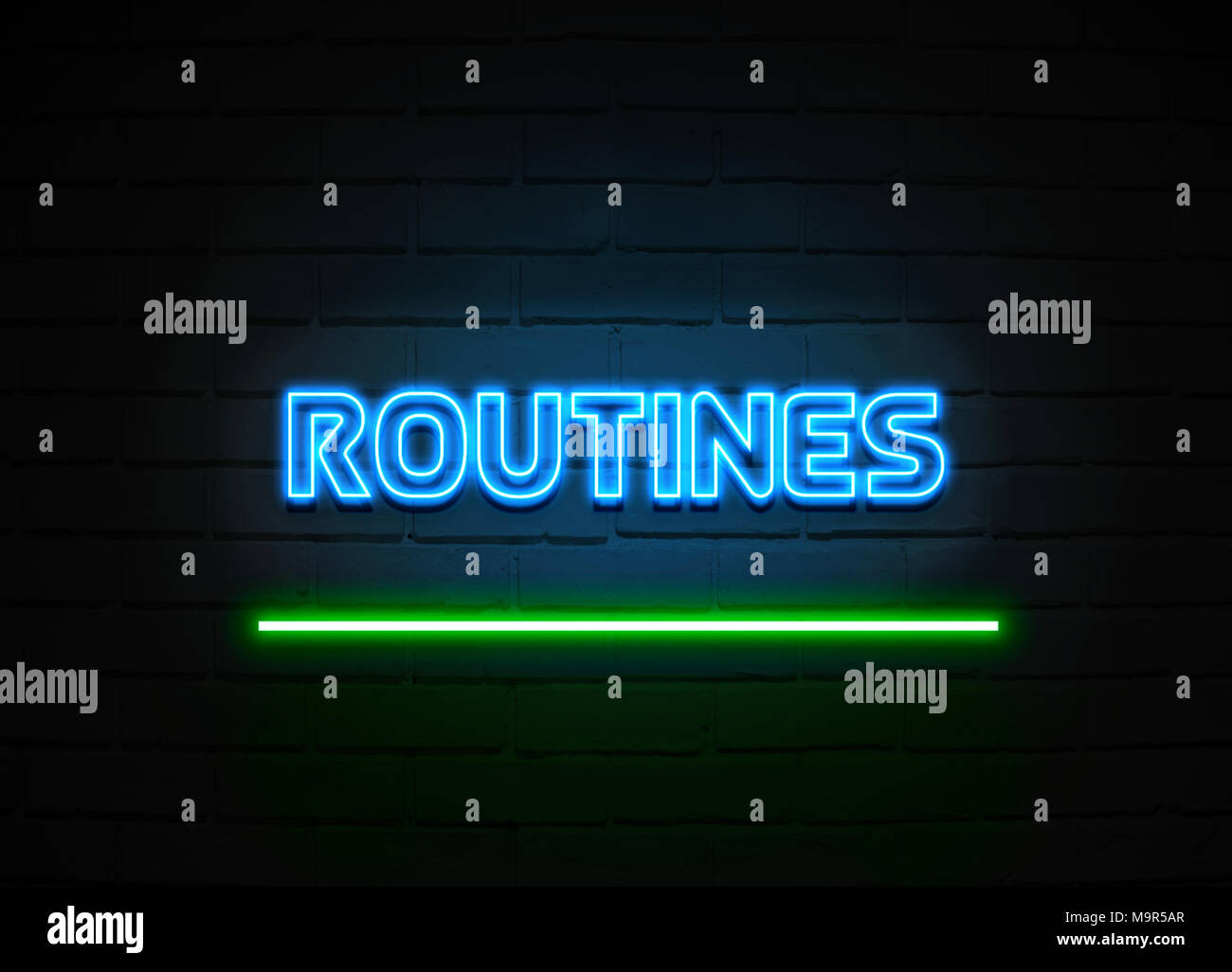 Routines neon sign - Glowing Neon Sign on brickwall wall - 3D rendered royalty free stock illustration. - Stock Image
