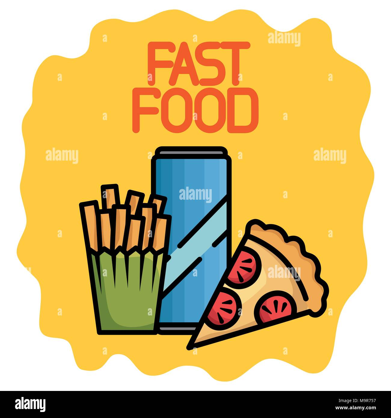 fast food set icons Stock Vector